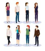 ungdomar med ansiktsmasker avatar karaktärer