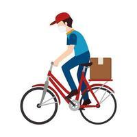 Fahrradkurier mit Gesichtsmaske vektor