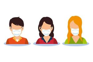 junge Leute mit Gesichtsmasken Avatar Charaktere vektor