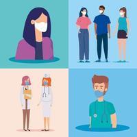 Szenen von Menschen und Angehörigen der Gesundheitsberufe mit Gesichtsmasken vektor