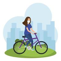 junge Frau mit Gesichtsmaske, die ein Fahrrad draußen reitet vektor