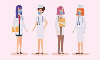 grupp läkare och sjuksköterskor med ansiktsmasker vektor