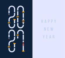 Frohes neues Jahr 2021 Grußkarte mit Karikatur Wasserpfeife Industrie Schriftart mit Sanitär Service flache Illustrationen. vektor
