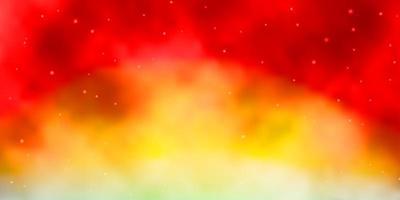 hellblauer, roter Vektorhintergrund mit kleinen und großen Sternen.