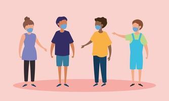 Gruppe von Kindern mit Gesichtsmasken vektor