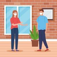 junges Paar mit Gesichtsmasken, Innenhausszene