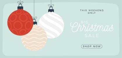 julförsäljningskort. vektorillustration med hängande julgranskulor i platt tecknad stil. försäljnings- eller rabattbanner med trädboll vektor