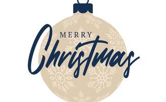 julkort retrostil. vektor illustration nyår banner med julgranskulor. dekorativa småsak i platt tecknad stil med hälsning bokstäver