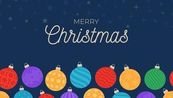 nahtloses Feiertagsmuster des horizontalen Vektors mit Weihnachtsverzierungen in der bunten Kugelkugel für Hintergründe und Einladungen vektor