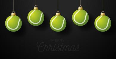 god jul tennis gratulationskort. hänga på en tråd tennisboll som en julboll på svart horisontell bakgrund. sport vektorillustration. vektor