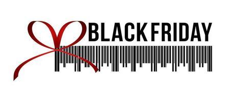 Schwarzer Freitag-Verkauf, horizontales Banner in Form des Weihnachtsgeschenks mit rotem Band, Schleife und Strichcode, weißer Hintergrund. Broschüre oder Banner Vorlage. vektor