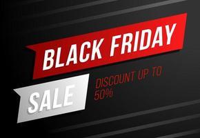 Verkaufsplakat schwarzer Freitag Verkauf. Black Friday Sale mit 50 Prozent Rabatt. kommerzielles Rabatt-Event-Banner.