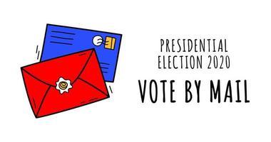 Hand gezeichnete Abstimmung durch Postvektorillustration. Bleiben Sie sicher Konzept der 2020 Präsidentschaftswahlen der Vereinigten Staaten. Vorlage für Hintergrund, Banner, Karte, Poster mit Textbeschriftung.