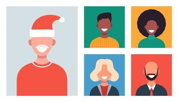 Webfenster mit verschiedenen Personen, die per Videokonferenz chatten. lächelnde Männer und Frauen arbeiten und kommunizieren aus der Ferne. Weihnachten Familie oder Freunde treffen sich online. Vektorillustration im flachen Design vektor