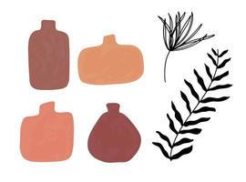 Satz gestreifte Vase isoliert auf weiß. dekoratives Geschirrglas mit Wellenverzierung, Farbtopf im flachen Stil, Keramikblumentopf. handgefertigte Gegenstände aus Ton. Vase für Blumen. Vektorillustration