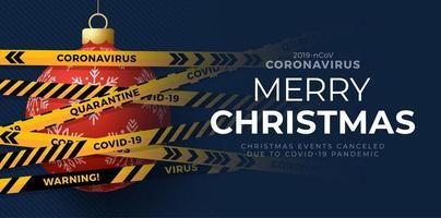 röd jul boll och karantän biohazard fara. gula och svarta ränder. coronavirus covid-19 och jul eller nyår avbrutet koncept. vektor illustration