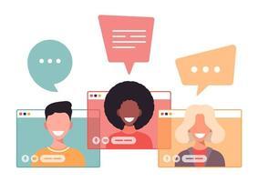 Mann und Frau kommunizieren online über das Internet mit einer Videoanrufanwendung. Freunde reden und lachen, Geschäftspartner auf Konferenz. Arbeiten aus der Ferne, Chatten mit Menschen auf Telefonkonferenzvektor vektor