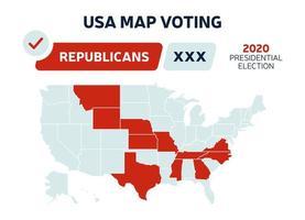 Karte der Wahlergebnisse der US-Präsidentenrepublikaner. USA Map Voting. Präsidentschaftswahl Karte jedes Staates amerikanische Wahlstimmen zeigt Republikaner oder Demokraten politischen Vektor Infografik