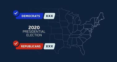 USA: s presidentvalskarta. usa map voting. presidentvalet kartlägger varje stat amerikanska valröster som visar republikaner eller demokrater politisk vektor infografisk