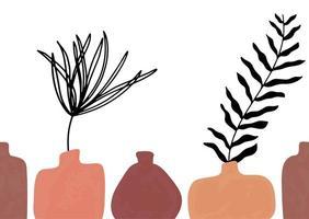 nahtloses Muster mit abstrakten handgezeichneten Terrakotta-Vasen in Pastellfarben und Zweig auf beigem Hintergrund. abstraktes geometrisches Design für Textil, Verpackung, Hintergrund. vektor