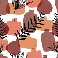 nahtloses Muster mit abstrakten handgezeichneten Terrakotta-Vasen in Pastellfarben und Zweig auf beigem Hintergrund. abstraktes geometrisches Design für Textil, Verpackung, Hintergrund.