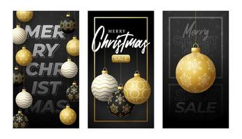 vertikal banner för god jul för berättelser. gyllene vektor uppsättning jul tema sociala medier berättelser post, 3d realistiska svart och guld småsak ball banner täcka ram mall