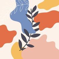 Plakat mit Pflanzen und abstrakten Formen, modernes Grafikdesign. Perfekt für Social Media, Poster, Cover, Einladung, Broschüre. Vektor