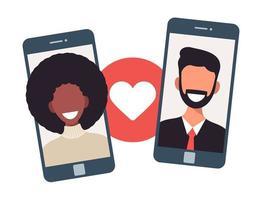 Online-Dating-App-Konzept mit Mann und Frau. flache Vektorillustration der multikulturellen Beziehung mit weißem Mann und afrikanischer Frau auf Telefonbildschirm.