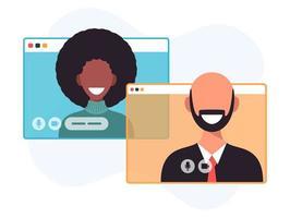 illustration av två glada människor som pratar via videosamtal. leende män och kvinnor arbetar och kommunicerar på distans. teammöte vektorillustration i platt design vektor