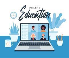 online-utbildning, e-lärande, online-kurs koncept, hemskola vektorillustration. studenter på bärbar datorskärm, distansutbildning, ny normal, tecknad vektor platt illustration