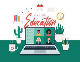Online-Bildung, E-Learning, Online-Kurskonzept, Vektorillustration der Heimschule. Studenten auf Laptop-Computer-Bildschirm, Fernunterricht, neue normale, Cartoon-Vektor flache Illustration
