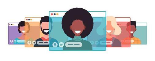afrikansk affärskvinna chattar under videosamtal affärskvinna med chattbubbeltal i datorfönster kommunikation online konferens koncept porträtt horisontell tecknad platt vektorillustration vektor
