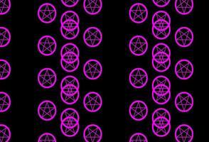 dunkelvioletter, rosa Vektorhintergrund mit Mysteriumsymbolen.