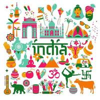 Indien traditionelles Icon-Set vektor