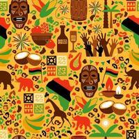 nahtloses Muster von Afrika mit traditionellen Elementen vektor