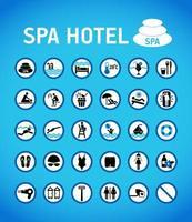 spa hotell regler och tecken på blå uppsättning vektor