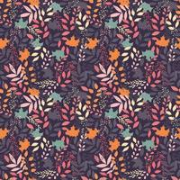 Herbst nahtloses Muster mit floralen dekorativen Elementen, buntes Design. vektor