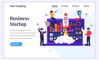 Landingpage-Design-Konzept der Unternehmensgründung. Leute, die am Raketenstart arbeiten. Entwicklungsprozess, Innovationsprodukt, kreative Idee. flache Vektorillustration