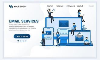 målsidesmall för e-postmarknadsföring, e-posttjänster med människor som arbetar på enheter. modernt platt webbdesignkoncept för webbplats och mobilwebbplats. vektor illustration