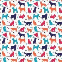 uppsättning fina färger katter och hundar bakgrund vektor