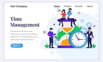 målsidans designkoncept för tidshantering med människor arbetar nära en stor klocka och ett timglas. platt vektorillustration vektor