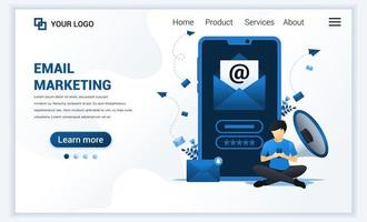 målsidesmall för e-postmarknadsföringstjänster med en man som sitter nära jätte-smartphone. modernt platt webbdesignkoncept för webbplats och mobilwebbplats. vektor illustration