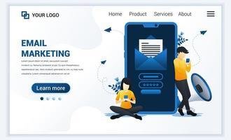 målsidesmall för e-postmarknadsföringstjänster med människor som sitter och står nära jätte smartphone. modernt platt webbdesignkoncept för webbplats och mobilwebbplats. vektor illustration