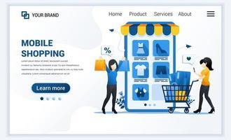 Vektor-Illustration des Online-Shopping-Konzepts. junge Frauen kaufen Produkte im Online-Bewerbungsladen. modernes Flat Web Landing Page Template Design für Website und mobile Website. flacher Cartoon-Stil vektor