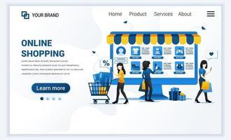 Vektor-Illustration des Online-Shopping-Konzepts. junge Frauen kaufen Produkte im Online-Shop. modernes Flat Web Landing Page Template Design für Website und mobile Website. flacher Cartoon-Stil vektor