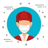 leverans arbetare med en ansiktsmask isolerad ikon vektor