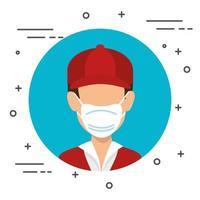 Lieferarbeiter mit einem isolierten Symbol der Gesichtsmaske