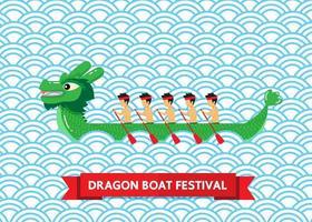 grünes Drachenboot auf blauem abstraktem Hintergrund