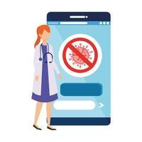 Online-Medizin mit Arzt und Smartphone vektor