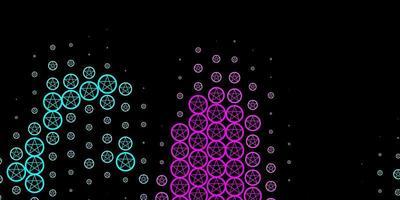 mörkrosa, blå vektormönster med magiska element.